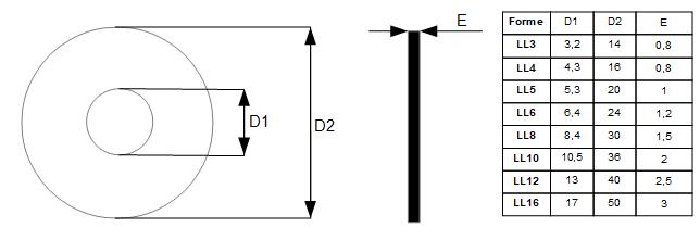Dimensions des différentes tailles de rondelles de forme LL