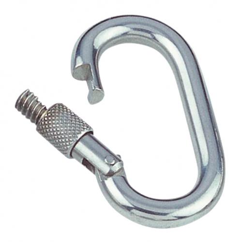 Mosquetón apertura exterior con tornillo de seguridad