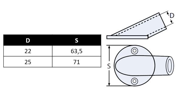 Platine de balcon ronde, 30°